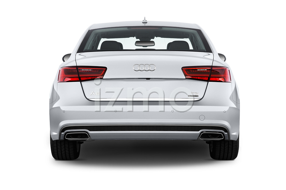 Straight rear view of 2016 Audi A6  TDI quattro tiptronic Prestige  4 Door Sedan stock images