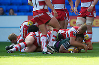 Halani Aulika of London Irish dives over to score a try during the Aviva Premiership match between London Irish and Gloucester Rugby at the Madejski Stadium on Saturday 8th September 2012 (Photo by Rob Munro)