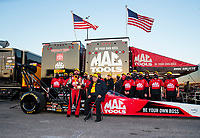 Oct 4, 2020; Madison, Illinois, USA; NHRA top fuel driver Doug Kalitta and team owner Connie Kalitta celebrate with crew after winning the Midwest Nationals at World Wide Technology Raceway. Mandatory Credit: Mark J. Rebilas-USA TODAY Sports