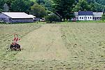 Tractor hay raking rows. Halifax, VT