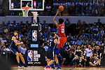 Joel Embiid of 76ers (R) in action during the NBA China Games 2018 match between Dallas Mavericks and Philadelphia 76ers at Universiade Center on October 08 2018 in Shenzhen, China. Photo by Marcio Rodrigo Machado / Power Sport Images