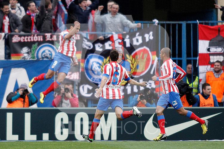 Atletico's Facao celebrates goal celebrates goal during La Liga BBVA match. April 27, 2013.(ALTERPHOTOS/Alconada)