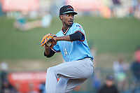 Hickory Crawdads starting pitcher Tyree Thompson (14) in action against the Ocelotes de Greensboro at First National Bank Field on June 11, 2019 in Greensboro, North Carolina. The Crawdads defeated the Ocelotes 2-1. (Brian Westerholt/Four Seam Images)
