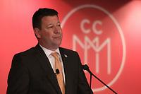 président-directeur général de Montréal International, Hubert Bolduc, a la tribune de la Chambre de Commerce du Montreal Metropolitain, le 9 Mai 2017<br /> <br /> PHOTO : Agence Quebec Presse