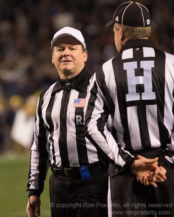 Referee Jerry McGinn. Cincinnati Bearcats defeated the Pitt Panthers 26-23 at Heinz Field in Pittsburgh, Pennsylvania on November 5, 2011.