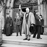 Winston Churchill receives an honorary degree from Harvard University in Massachusetts, USA, 6 October 1943