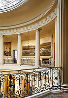 The interior of the London's Royal Automobile Club. Pall Mall. The rotunda is lined with paintings, many related to the history of automobiles.