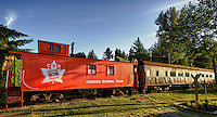 Canadian National Railway 1920s Caboose 76904 and a 1947 Passenger Rail Car the E & E Taylor at the CN Fort Langley Station
