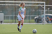 Marith Debondt (31) of OHL  pictured during a female soccer game between Club Brugge Dames YLA and Oud Heverlee Leuven on the first matchday in Play-Off 1 of the 2020 - 2021 season of Belgian Scooore Womens Super League , saturday 3 th April 2021  in Brugge , Belgium . PHOTO SPORTPIX.BE | SPP | DIRK VUYLSTEKE