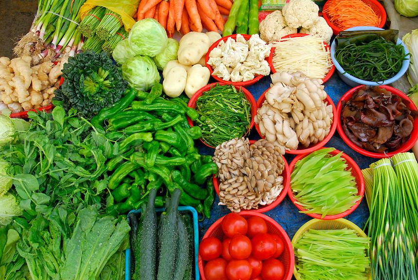 Vegetables for sale at Tromsikhang Market, Barkhor, Lhasa, Tibet.