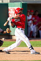 Chevy Clarke (25) of the Orem Owlz follows through on his swing against the Billings Mustangs at Brent Brown Ballpark on July 22, 2012 in Orem, Utah.  The Mustangs defeated the Owlz 13-8.  (Brian Westerholt/Four Seam Images)