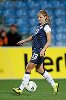 US's Alex Morgan fight's for the ball during their Algarve Women's Cup soccer match at Algarve stadium in Faro, March 13, 2013.