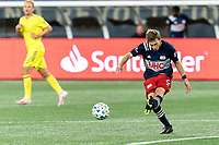 FOXBOROUGH, MA - OCTOBER 3: Scott Caldwell #6 of New England Revolution passes the ball during a game between Nashville SC and New England Revolution at Gillette Stadium on October 3, 2020 in Foxborough, Massachusetts.