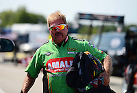 Sept. 22, 2012; Ennis, TX, USA: NHRA top fuel dragster driver Terry McMillen during qualifying for the Fall Nationals at the Texas Motorplex. Mandatory Credit: Mark J. Rebilas-US PRESSWIRE
