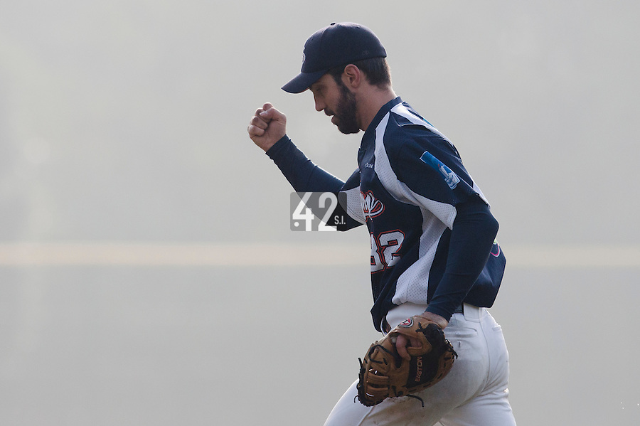 24 October 2010: Sebastien Boyer of Savigny celebrates during Savigny 8-7 win (in 12 innings) over Rouen, during game 3 of the French championship finals, in Rouen, France.