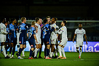 21st November 2020; Adams Park Stadium, Wycombe, Buckinghamshire, England; English Football League Championship Football, Wycombe Wanderers versus Brentford; Ivan Toney is yellow carded at the end of the game.