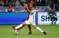 Orlando City, FL - Wednesday March 07, 2018: Demi Stokes, Mallory Pugh during a 2018 SheBelieves Cup match between the women's national teams of the United States (USA) and England (ENG) at Orlando City Stadium.