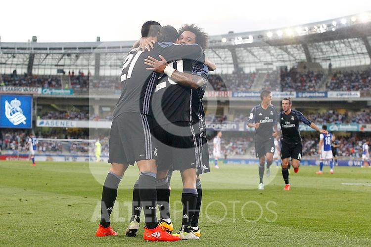 Real Madrid's Alvaro Morata, Marco Asensio, Marcelo Vieira, Raphael Varane and Garet Bale celebrate goal during La Liga match. August 21,2016. (ALTERPHOTOS/Acero)