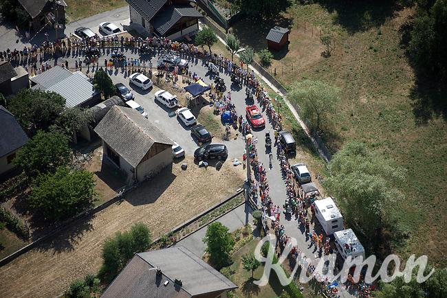 race leader (and eventual stage winner) Romain Bardet (FRA/Ag2r-La Mondiale) getting up the Lacets de Montvernier (2C/782m/3.4km, 8.2%)<br /> <br /> stage 18: Gap - St-Jean-de-Maurienne (187km)<br /> 2015 Tour de France