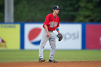 Elizabethton Twins shortstop Sean Miller (4) on defense against the Kingsport Mets at Hunter Wright Stadium on July 8, 2015 in Kingsport, Tennessee.  The Mets defeated the Twins 8-2. (Brian Westerholt/Four Seam Images)