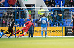 St Johnstone v Partick Thistle…27.01.18…  McDiarmid Park…  SPFL<br />A helpless Zander Clark as Steven Lawless scores Thistles first goal<br />Picture by Graeme Hart. <br />Copyright Perthshire Picture Agency<br />Tel: 01738 623350  Mobile: 07990 594431