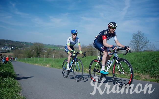 David Tanner (AUS/IAM) & Simon Clarke (AUS/Orica-GreenEDGE) leading the race up the steepest climb of all: Keutenberg (22%)<br /> <br /> 50th Amstel Gold Race 2015