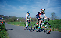 David Tanner (AUS/IAM) & Simon Clarke (AUS/Orica-GreenEDGE) leading the race up the steepest climb of all: Keutenberg (22%)<br /> <br /> 50th Amstel Gold Race 2015