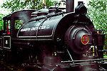 Steam Train Engine idles on the track awaiting passengers in Duncan, British Columbia, Canada.  BC Forestry Center.