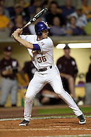 LSU Tigers shortstop Austin Nola #36 at bat against the Mississippi State Bulldogs during the NCAA baseball game on March 16, 2012 at Alex Box Stadium in Baton Rouge, Louisiana. LSU defeated Mississippi State 3-2 in 10 innings. (Andrew Woolley / Four Seam Images)