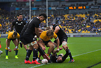 NZ's Aaron Smith celebrates his try during the Bledisloe Cup rugby union match between the New Zealand All Blacks and Australia Wallabies at Sky Stadium in Wellington, New Zealand on Sunday, 11 October 2020. Photo: Dave Lintott / lintottphoto.co.nz