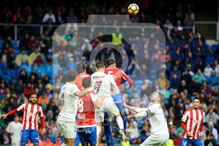 Real Madrid's player Pepe, Cristiano Ronaldo and Sergio Ramos and Sporting de Gijon's player Rachid and Fernando Amorebieta during match of La Liga between Real Madrid and Sporting de Gijon at Santiago Bernabeu Stadium in Madrid, Spain. November 26, 2016. (ALTERPHOTOS/BorjaB.Hojas)