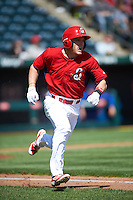 Springfield Cardinals center fielder Harrison Bader (33) runs to first during a game against the Northwest Arkansas Naturals on April 27, 2016 at Hammons Field in Springfield, Missouri.  Springfield defeated Northwest Arkansas 8-1.  (Mike Janes/Four Seam Images)