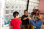 Education Preschool 4 year olds three boys playing
