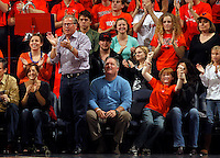 CHARLOTTESVILLE, VA- JANUARY 7: Virginia Cavaliers fans reacts during the game against the Miami Hurricanes on January 7, 2012 at the John Paul Jones Arena in Charlottesville, Virginia. Virginia defeated Miami 52-51. (Photo by Andrew Shurtleff/Getty Images) *** Local Caption ***