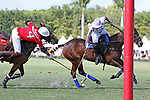 WELLINGTON, FL - MARCH 26:  Miguel Novillo Astrada of Coca Cola and Valiente's Diego Cavanagh battle for the ball as Valiente comes from behind to defeat Coca Cola 9-6 in the final of the 26 goal USPA Gold Cup, at the International Polo Club, Palm Beach on March 26, 2017 in Wellington, Florida. (Photo by Liz Lamont/Eclipse Sportswire/Getty Images)
