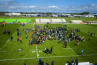 Fans mingle with the teams after the Mitre 10 Cup Cup rugby match between Manawatu Turbos and Southland Stags at Manfeild Park in Feilding, New Zealand on Saturday, 1 November 2020. Photo: Dave Lintott / lintottphoto.co.nz
