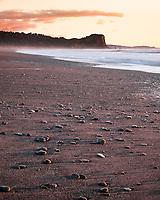 Waiho Beach near Franz Josef Glacier at sunset, Westland Tai Poutini National Park, West Coast, UNESCO World Heritage Area, New Zealand, NZ