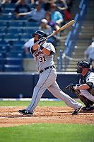 Detroit Tigers third baseman Casey McGehee (31) at bat during a Spring Training game against the New York Yankees on March 2, 2016 at George M. Steinbrenner Field in Tampa, Florida.  New York defeated Detroit 10-9.  (Mike Janes/Four Seam Images)