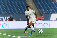 FOXBOROUGH, MA - AUGUST 5: Pecka #7 of North Carolina FC passes the ball during a game between North Carolina FC and New England Revolution II at Gillette Stadium on August 5, 2021 in Foxborough, Massachusetts.