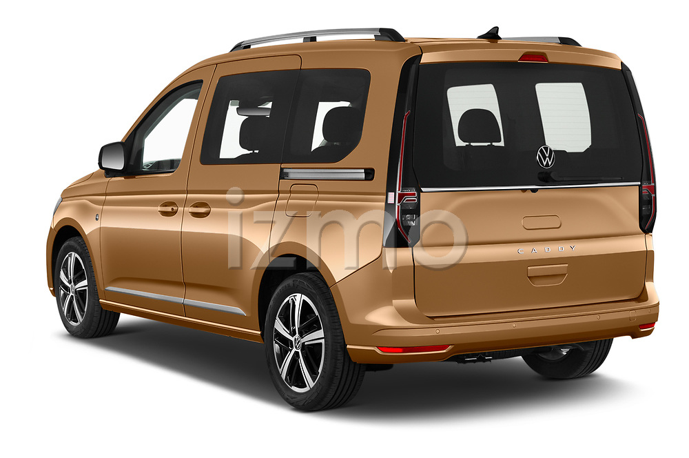 Car pictures of rear three quarter view of 2021 Volkswagen Caddy Style 5 Door Mini MPV Angular Rear