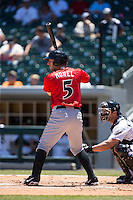 Brent Morel (5) of the Indianapolis Indians at bat against the Charlotte Knights at BB&T BallPark on June 21, 2015 in Charlotte, North Carolina.  The Knights defeated the Indians 13-1.  (Brian Westerholt/Four Seam Images)