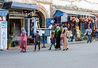 Essaouira, Morocco.  Street Scene, Women's Clothing, Avenue de l'Istiqlal.