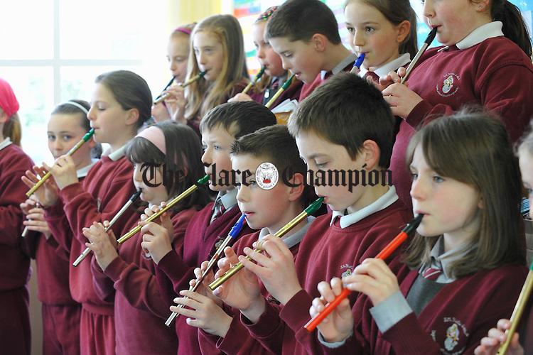 Tin whistle rehearsals at Ballyea NS. Photograph by John Kelly.