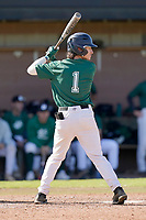 Center fielder Jake Hennessy (1) of the University of South Carolina Upstate Spartans Green team bats in the Green and Black Fall World Series Game 2 on Saturday, October 31, 2020, at Cleveland S. Harley Park in Spartanburg, South Carolina. Green won, 6-5. (Tom Priddy/Four Seam Images)