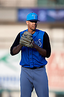 Tampa Tarpons starting pitcher Freicer Perez (37) gets ready to deliver a pitch during a game against the Lakeland Flying Tigers on April 6, 2018 at Publix Field at Joker Marchant Stadium in Lakeland, Florida.  Lakeland defeated Tampa 6-5.  (Mike Janes/Four Seam Images)