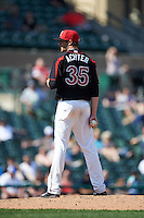 Rochester Red Wings pitcher A.J. Achter (35) looks in for the sign during a game against the Norfolk Tides on May 3, 2015 at Frontier Field in Rochester, New York.  Rochester defeated Norfolk 7-3.  (Mike Janes/Four Seam Images)