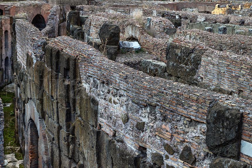 Underground interior ruins of The Colosseum, Rome, Italy