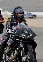 Nov. 1, 2008; Las Vegas, NV, USA: NHRA pro stock motorcycle rider Junior Pippin during qualifying for the Las Vegas Nationals at The Strip in Las Vegas. Mandatory Credit: Mark J. Rebilas-