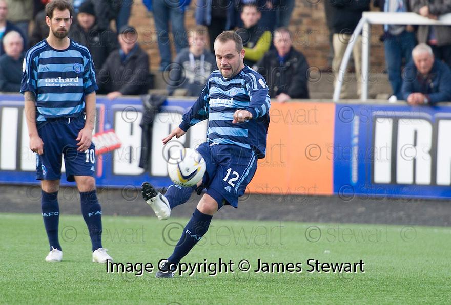 Forfar's Martyn Fotheringham scores their third goal.