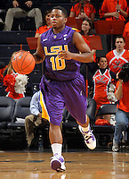 Jan. 2, 2011; Charlottesville, VA, USA; LSU Tigers guard Andre Stringer (10) dribbles the ball down court during the game against the Virginia Cavaliers at the John Paul Jones Arena. Virginia won 64-50. Mandatory Credit: Andrew Shurtleff-